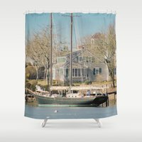 cape cod Shower Curtains featuring Wychmere Harbor, Cape Cod, Massachusetts by ELIZABETH THOMAS Photography of Cape Cod