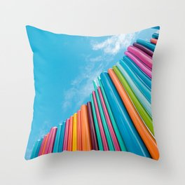 Colorful Rainbow Pipes Against Blue Sky Throw Pillow
