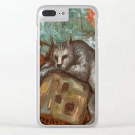 Napping on the cushion Clear iPhone Case