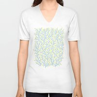 lime V-neck T-shirts featuring Berry Branches - Lime & Blue by Cat Coquillette