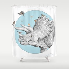 Triceratops and Birdies Shower Curtain