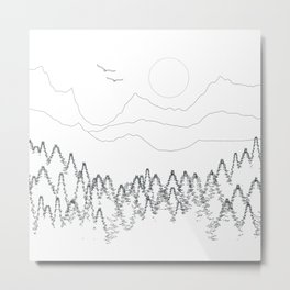 Minimal Mountain Forest Landscape Metal Print