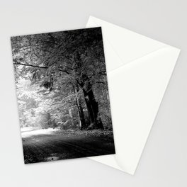 road, autumn, black-and-white, trees, pool Stationery Cards