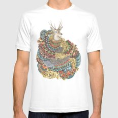 Quilted Forest: The Deer MEDIUM Mens Fitted Tee White