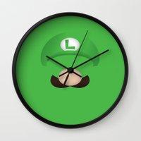 luigi Wall Clocks featuring Luigi by Aaron Macias