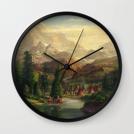 Indian Village Greeting Trapper Western Mountain Landscape, Native Americans, americana Wall Clock