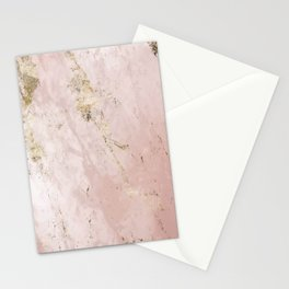 Marble Pattern in Pink and Gold Stationery Cards