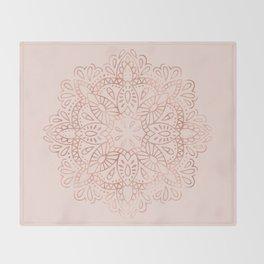 Mandala Rose Gold Pink Shimmer on Blush Pink Throw Blanket