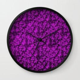 Vintage Floral Lace Leaf Dazzling Violet Wall Clock