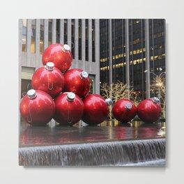Huge Christmas Ball Ornaments in NYC Metal Print