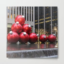 Huge Christmas Ball Ornaments in NYC Metal Print