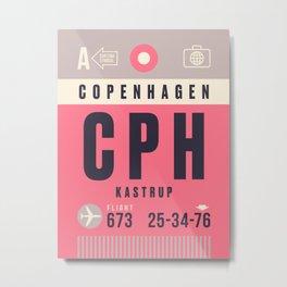 Baggage Tag A - CPH Copenhagen Kastrup Denmark Metal Print