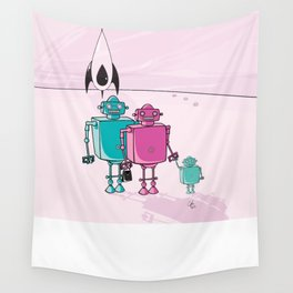Robot family vacation Wall Tapestry