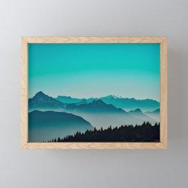 Rise above the mist. Turquoise Framed Mini Art Print