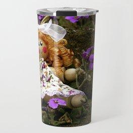 Clothes Peg Doll and Flowers Travel Mug