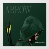 green arrow Canvas Prints featuring Arrow by Crewe Illustrations