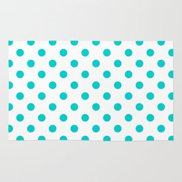 Small Polka Dots - Cyan on White Rug