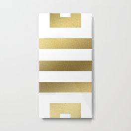 Gold Greek Stripes Metal Print