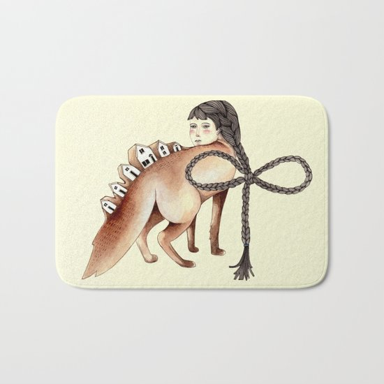 Little Homes of Hair and Wood Bath Mat
