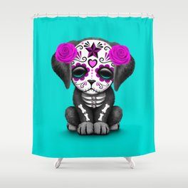 Cute Purple and Blue Day of the Dead Puppy Dog Shower Curtain