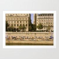 Sunbathers on the Siene River - Paris Art Print