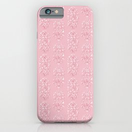 Baroque Flowers Pattern - Pink White iPhone Case