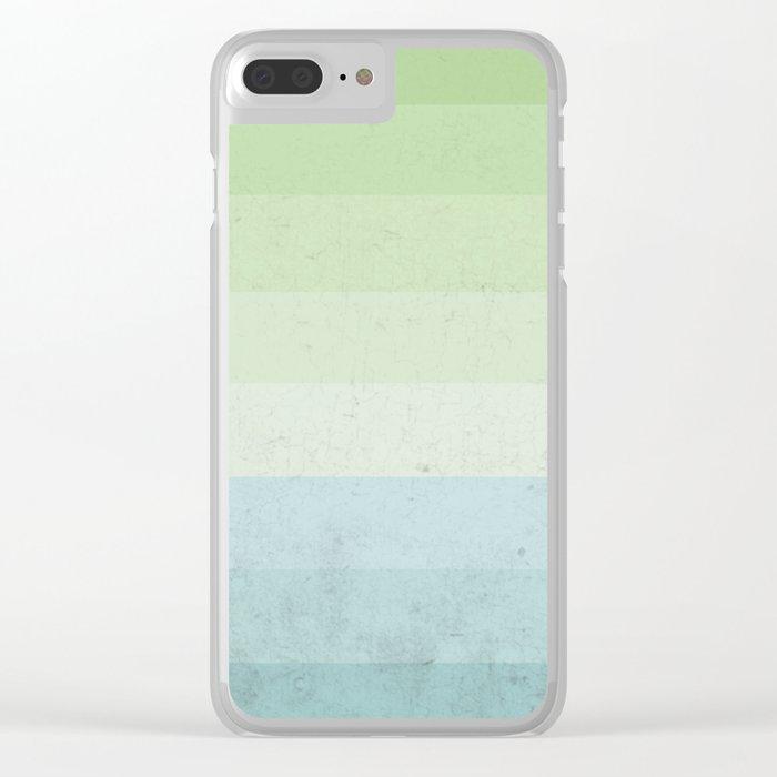 Fresh Cyan Lime Stripes Clear iPhone Case