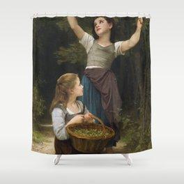 """William-Adolphe Bouguereau """"Récolte de noisettes (Harvest of hazelnuts)"""" Shower Curtain"""