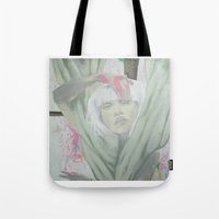 chandelier Tote Bags featuring Chandelier by marianneaurora
