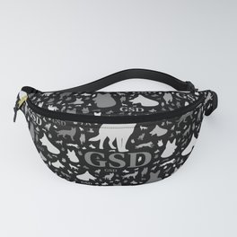German Shepherd Dog Silhouettes -Grayscale Fanny Pack