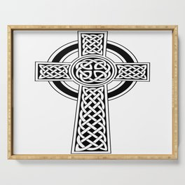 St Patrick's Day Celtic Cross Black and White Serving Tray