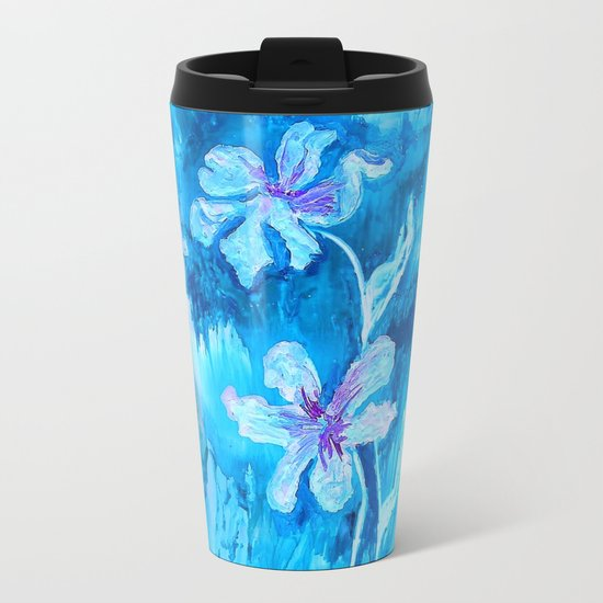 Blue encaustic flowers Metal Travel Mug