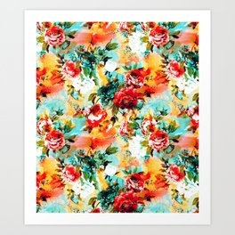 Floral Camouflage Art Print
