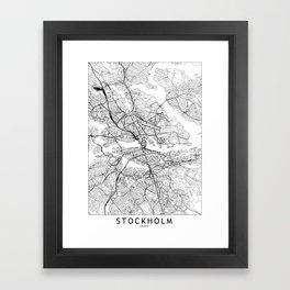 Stockholm White Map Framed Art Print