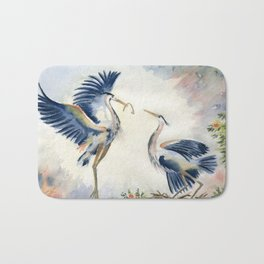 Great Blue Heron Couple Bath Mat
