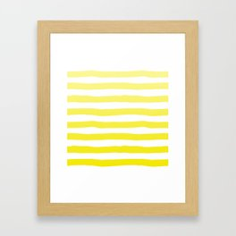Sun Yellow Handdrawn horizontal Beach Stripes - Mix and Match with Simplicity of Life Framed Art Print