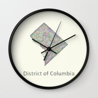 dc Wall Clocks featuring DC map by David Zydd