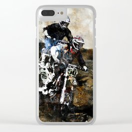 """""""Dare to Race"""" Motocross Dirt-Bike Racers Clear iPhone Case"""