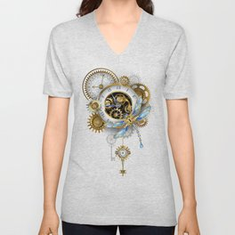 Steampunk Dragonfly with Clock Unisex V-Neck