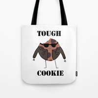 rileigh smirl Tote Bags featuring Tough Cookie by Rileigh Smirl