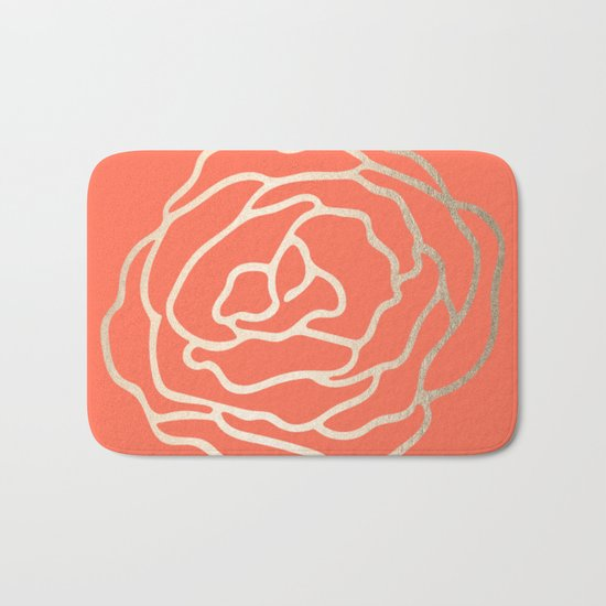 Rose White Gold Sands on Deep Coral Bath Mat