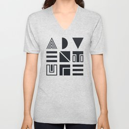 Geometric Adventure B&W Unisex V-Neck
