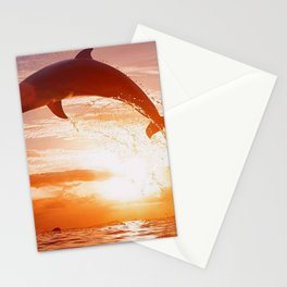 Phenomenal Super Cute Dolphin Jumping Water Romantic Sunset Ultra HD Stationery Cards