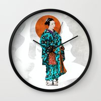 geisha Wall Clocks featuring Geisha by Steve W Schwartz Art