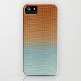 Light Rust and Turquoise Graphic Herringbone Weave Pattern iPhone Case