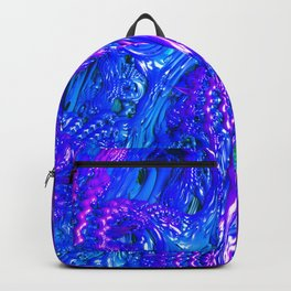 Blurple Plue Fractal Art Print Backpack