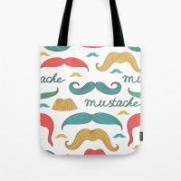 mustache Tote Bags featuring Mustache by olillia