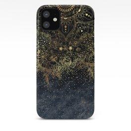 Stylish Gold floral mandala and confetti iPhone Case