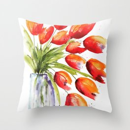 Tulips Overflowing Throw Pillow