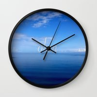 ohm Wall Clocks featuring Om  by Tru Images Photo Art